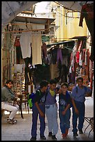 Children in a busy old town alley. Jerusalem, Israel ( color)