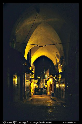 Alley at night, old town. Jerusalem, Israel (color)