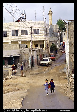 Two schoolchildren in a street of East Jerusalem. Jerusalem, Israel (color)