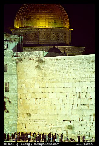 Western (Wailling) Wall and Dome of the Rock at night. Jerusalem, Israel (color)
