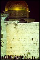 Western (Wailling) Wall and Dome of the Rock at night. Jerusalem, Israel