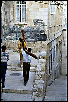 Men carrying crosses. Jerusalem, Israel ( color)