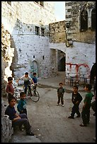 Group of children in old street, Hebron. West Bank, Occupied Territories (Israel) ( color)