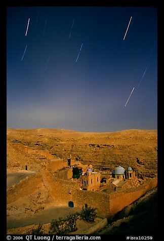 Star trails above the Mar Saba Monastery. West Bank, Occupied Territories (Israel) (color)