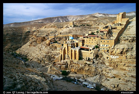 Mar Saba Monastery seen across the Kidron River. West Bank, Occupied Territories (Israel) (color)