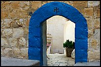 Blue doorway inside the Mar Saba Monastery. West Bank, Occupied Territories (Israel)