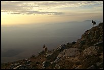 Ibex on the rim of Wadi Ruman (Maktesh Ramon) Crater, sunrise. Negev Desert, Israel ( color)