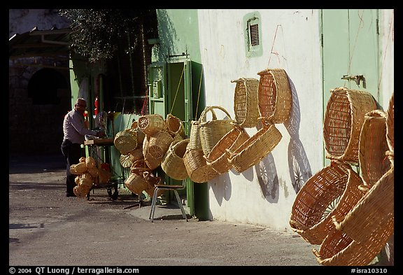 Hand-made baskets, Akko (Acre). Israel (color)