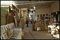 Paintings in Artist's shop, Artist Quarter, Safed (Zefad). Israel (color)