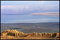 Ancient ruined walls of Masada and Dead Sea valley. Israel (color)