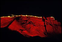Summit plateau illuminated at night, Masada. Israel (color)