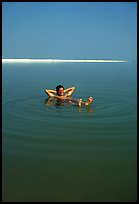 Flotting in the Dead Sea. Israel (color)