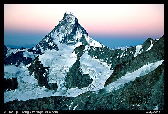 Matterhorn and glaciers at sunrise, Switzerland.  (color)