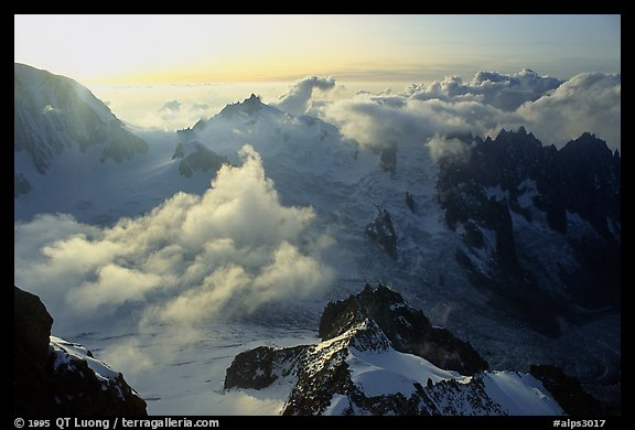 View of the upper Vallee Blanche Basin with Aiguille du Midi. Alps, France (color)