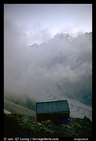 Alpine hut, which serves as a base for climbers. Alps, France (color)