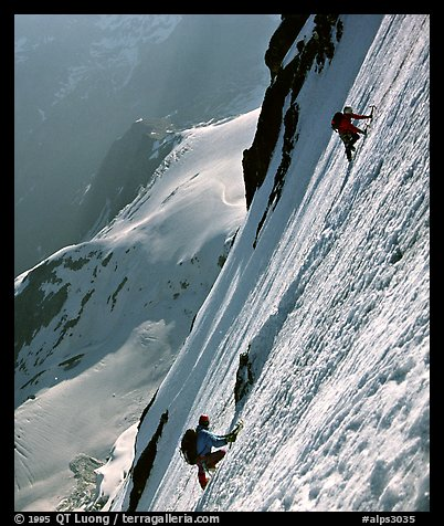 On the North face of Grande Casse, Vanoise, Alps, France.