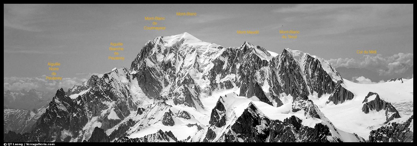 Mont-Blanc group, seen from Grandes Jorasses. Alps, France (color)