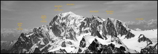 Mont-Blanc group, seen from Grandes Jorasses. Mont-Blanc range, French Alps