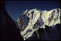 East Face of Mont-Blanc at night. Mont-Blanc range, French Alps