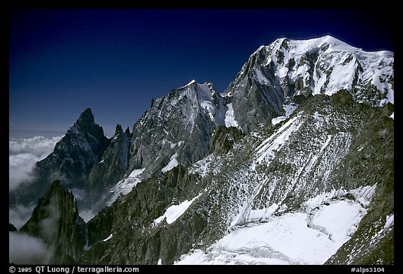 East Face of Mont-Blanc and Peuterey ridge, Italy.  (color)