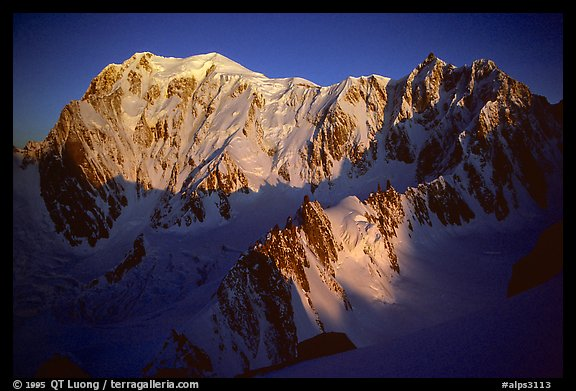 East Face of Mont-Blanc and Mt Maudit, early morning, Italy and France.  (color)