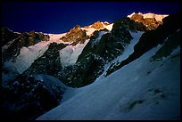 From the Red Sentinel route at dawn. Mont-Blanc range, French Alps