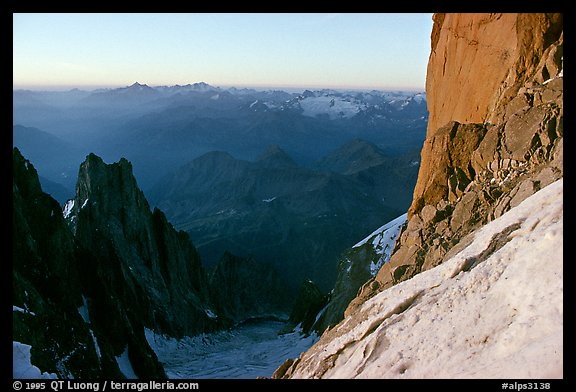 Base of the Central Pilar of Freney, Mont-Blanc, Italy.