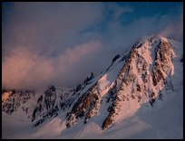 North face of Les Courtes. Mont-Blanc range, French Alps