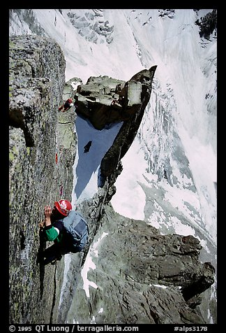 Climber on Aig. des Pelerins,  Mont-Blanc Range, Alps, France.  (color)