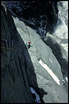 Aid climbing on Bonatti Pilar on Le Dru, Mont-Blanc Range, Alps, France. (color)