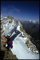 Climbing the South Face of Dent du Geant, Mont-Blanc Range, Alps, France. (color)
