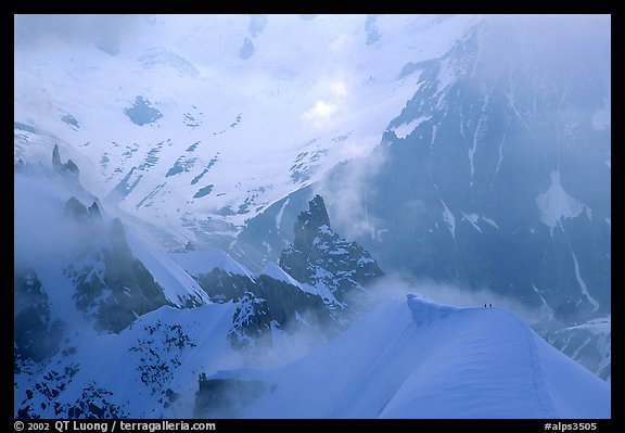 Alpinists on the  Midi-Plan ridge. Alps, France (color)