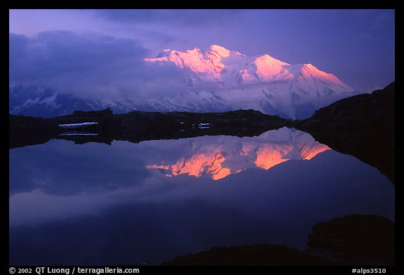 Mont-Blanc range at sunset, Alps, France.  (color)