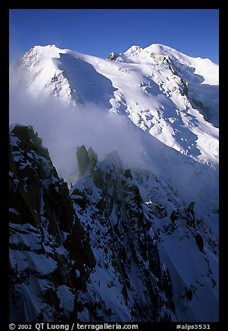 Cosmiques ridge, Tacul and Mont-Blanc. Alps, France (color)
