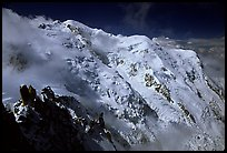 North Face of Mont-Blanc and Dome du Gouter. Alps, France (color)