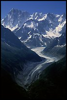 Mer de Glace, Grandes Jorasses, and Aretes de Rochefort. Mont-Blanc range, French Alps