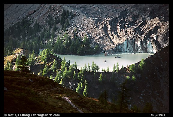 Glacial pond in Val Veni,  Mont-Blanc range, Alps, Italy.  (color)
