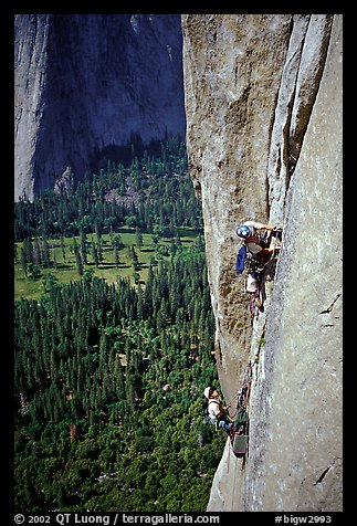 Valerio Folco leaving  the belay. El Capitan, Yosemite, California (color)