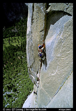 Valerio Folco leading the third pitch. El Capitan, Yosemite, California (color)