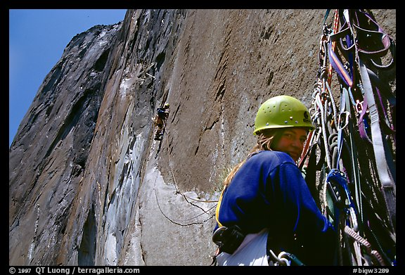 The belayer can relax once the rivet ladder is reached. El Capitan, Yosemite, California (color)