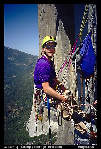 Comfy belay in a huge chair. El Capitan, Yosemite, California (color)