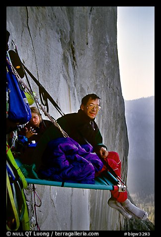 Waking up on the portaledge. El Capitan, Yosemite, California (color)