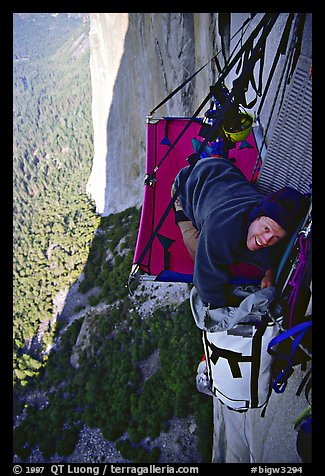 Looking for breakfast on the portaledge. El Capitan, Yosemite, California (color)