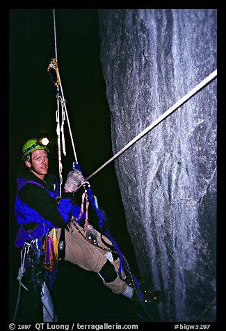 Climbing Zodiac at night. El Capitan, Yosemite, California (color)