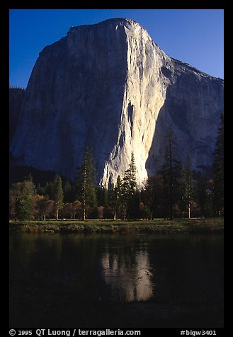 The Nose is the line between light and shadow in the center of El Cap. El Capitan, Yosemite, California (color)