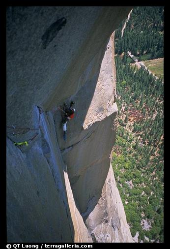 On beley on the Traverse pitch. El Capitan, Yosemite, California (color)