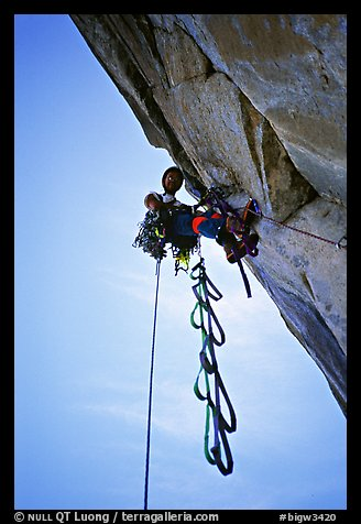 Leading the Shield slab, still overhanging. El Capitan, Yosemite, California (color)