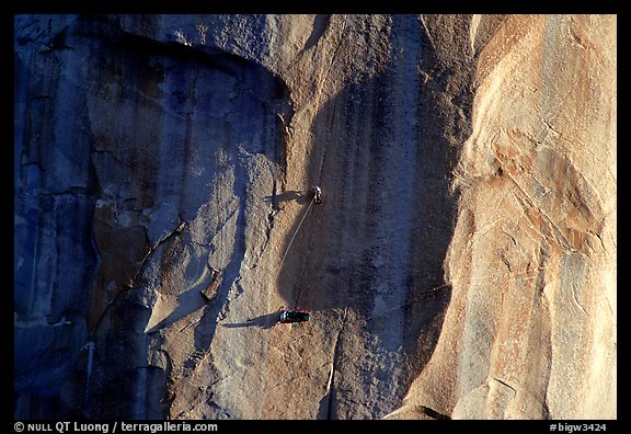 Tuan and Yves on  the Triple Cracks, the crux of the route. El Capitan, Yosemite, California (color)