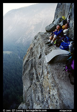 Relaxing the next morning at Awanhnee ledge. Leaning Tower, Yosemite, California (color)
