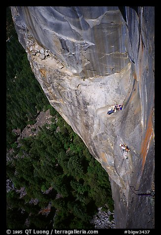 Waiting at Guano ledge. Leaning Tower, Yosemite, California (color)